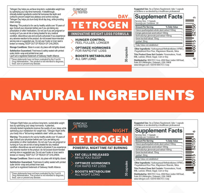 Natural ingredients in Tetrogen day and night pills