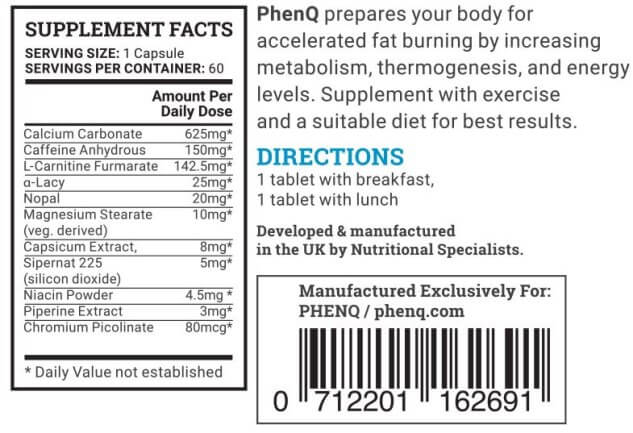 What are the ingredients in PhenQ?